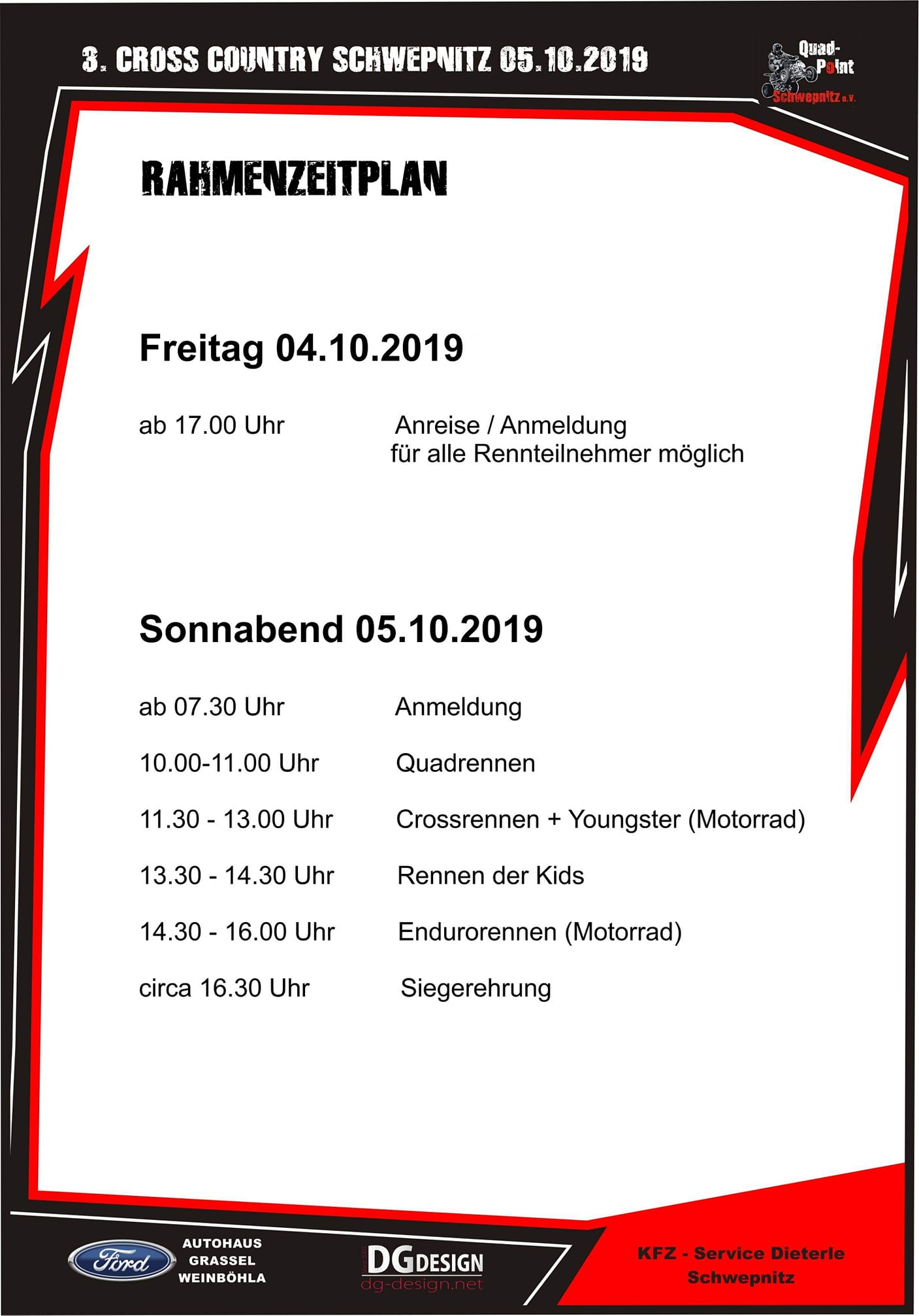 Rahmenzeitplan Cross Country 2019
